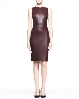 THE ROW Stretch Leather Sheath Dress, Mahogany