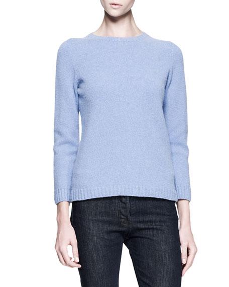 Crewneck Cashmere-Merino Pullover Sweater, Chambray