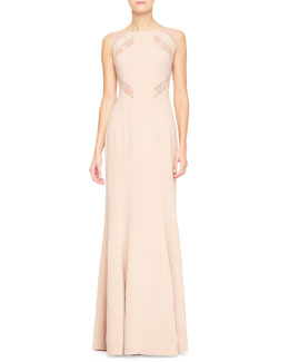 Elie Saab Lace-Cutout Sleeveless Gown