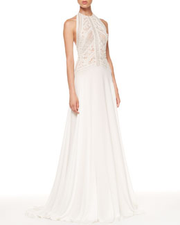 Elie Saab Beaded-Top Halter Gown