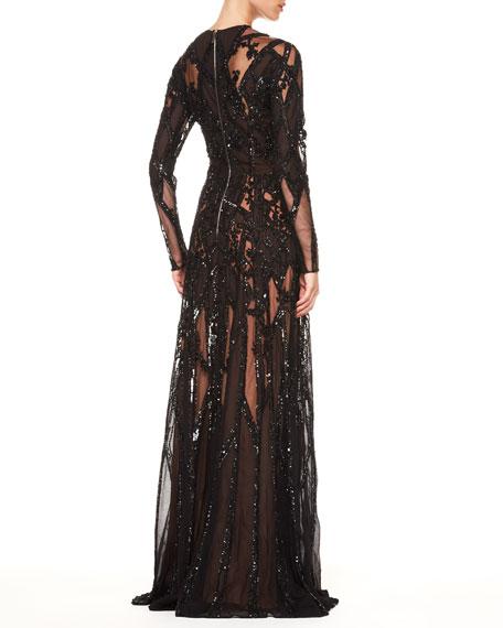 Sheer Sequin Gown, Black