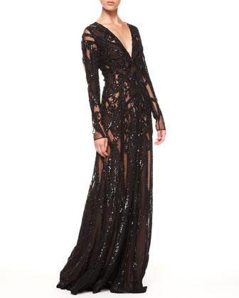 Sale alerts for Elie Saab Sheer Sequin Gown, Black - Covvet