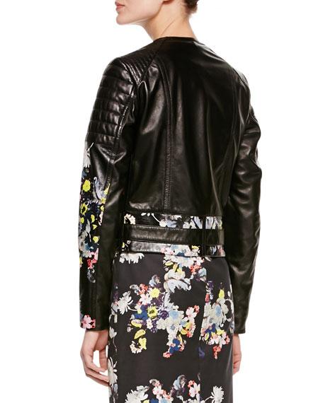 Jade Shrunken Floral Biker Jacket