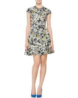 Erdem Daine Printed Cap-Sleeve Dress