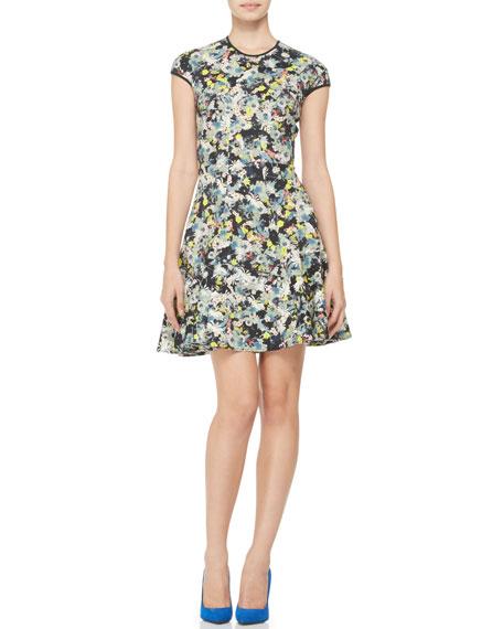 Daine Printed Cap-Sleeve Dress