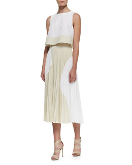 Proenza Schouler Two-Tone Flowy Tiered Dress