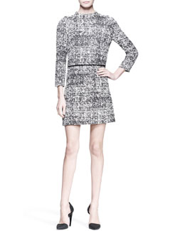 Proenza Schouler 3/4-Sleeve Tweed Shift Dress