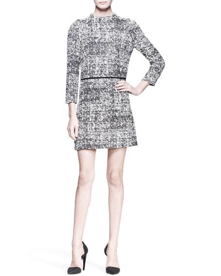 3/4-Sleeve Tweed Shift Dress