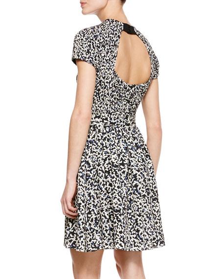 Printed Smock-Waist Dress
