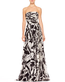 Ralph Lauren Collection Maria Printed Bustier Gown
