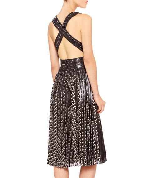 Sheldon Printed Leather-Trim Dress