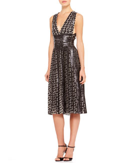 Ralph Lauren Collection Sheldon Printed Leather-Trim Dress