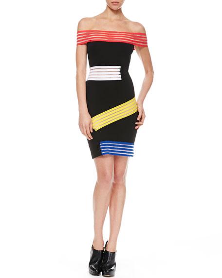 Christopher Kane Elastic-Striped Off-the-Shoulder Dress, Black/Multi