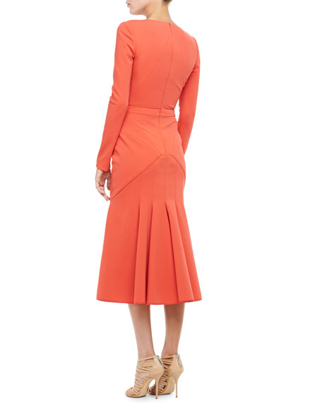 Plunging Godet-Skirt Dress