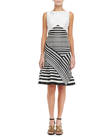 Paneled-Stripe Bateau Dress