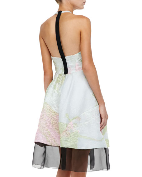 Sheer-Hem Halter Dress