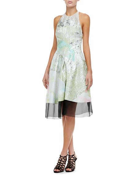 Sheer-Hem Halter Dress