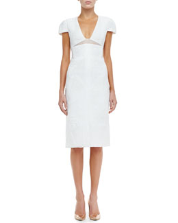 J. Mendel Textured Cap-Sleeve Sheath Dress