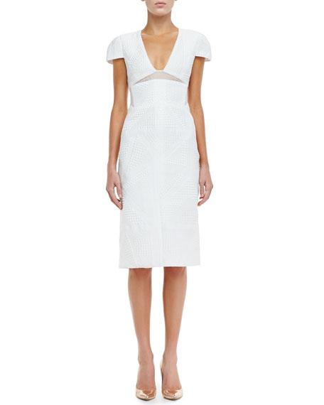 Textured Cap-Sleeve Sheath Dress