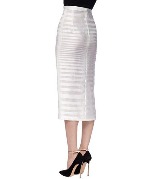 Sheer-Stripe Pencil Skirt