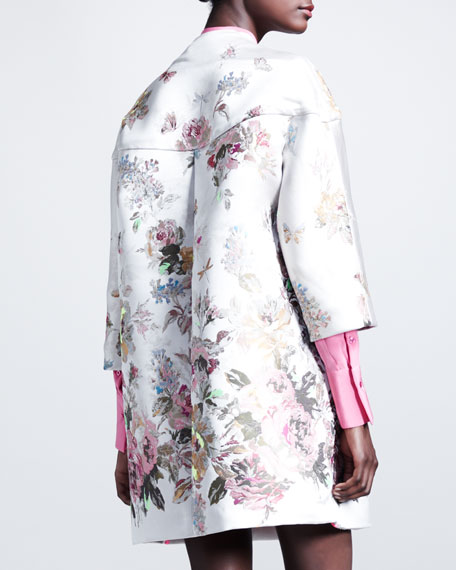Floral Embroidered Coat, White/Multi