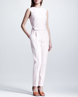 Valentino Open-Back Bow Jumpsuit