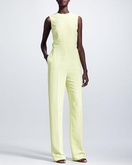 Cutout-Back Sleeveless Jumpsuit, Citron