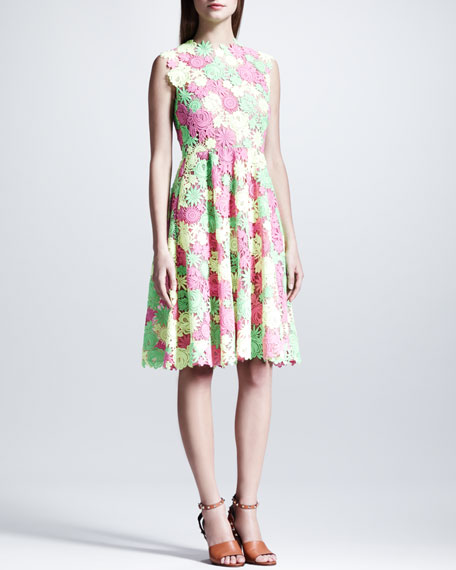 Full-Skirt Floral Guipure Lace Dress, Pink/Yellow/Green