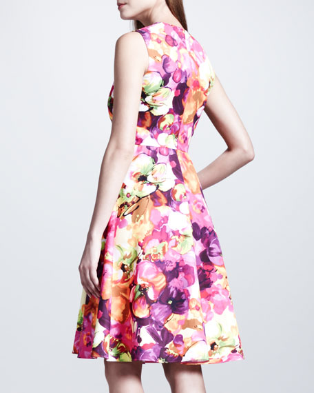Floral-Print Poplin Dress, Neon Pink/Purple