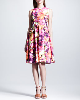 Valentino Floral-Print Poplin Dress, Neon Pink/Purple