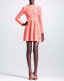 Valentino Fluorescent Garden Lace Dress, Orange