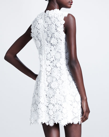 Sleeveless Floral-Embroidered Shift Dress, White