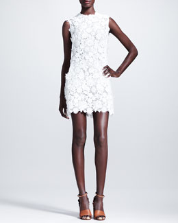Valentino Sleeveless Floral-Embroidered Shift Dress, White