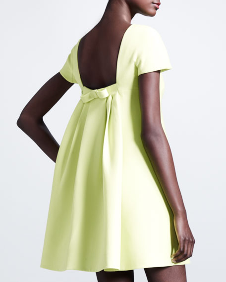 Pleated-Back Crepe Dress, Citron