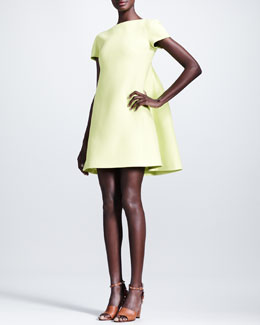 Valentino Pleated-Back Crepe Dress, Citron