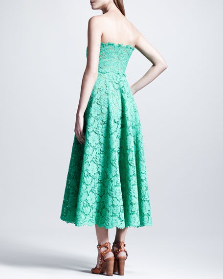 Strapless Heavy-Lace Maxi Dress, Mint