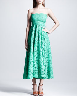 Valentino Strapless Heavy-Lace Maxi Dress, Mint