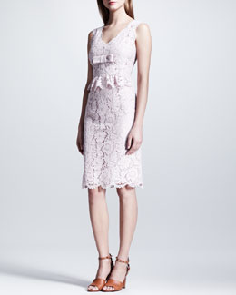 Valentino Bow-Detailed Sleeveless Lace Dress, Rose