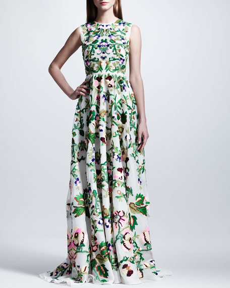 Embroidered Silk Organza Gown, White/Green