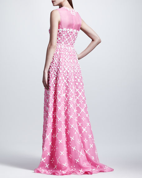 Macrame-Embroidered Organza Gown, Framboise