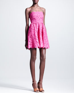 Valentino Short Strapless Lace Dress, Fuchsia