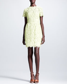 Valentino Heavy Lace Bambolina Dress, Citron