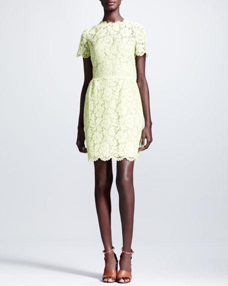Valentino Heavy Lace Bambolina Dress, Citron