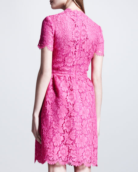 Heavy Lace Bambolina Dress, Fuchsia