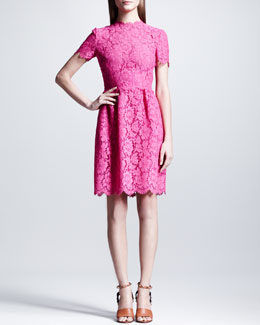 Valentino Heavy Lace Bambolina Dress, Fuchsia