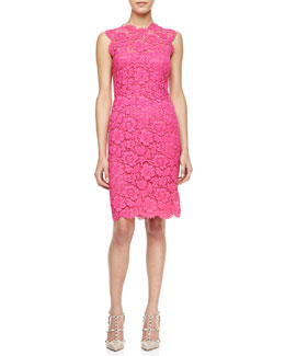 Valentino Sleeveless Lace Sheath Dress, Pink