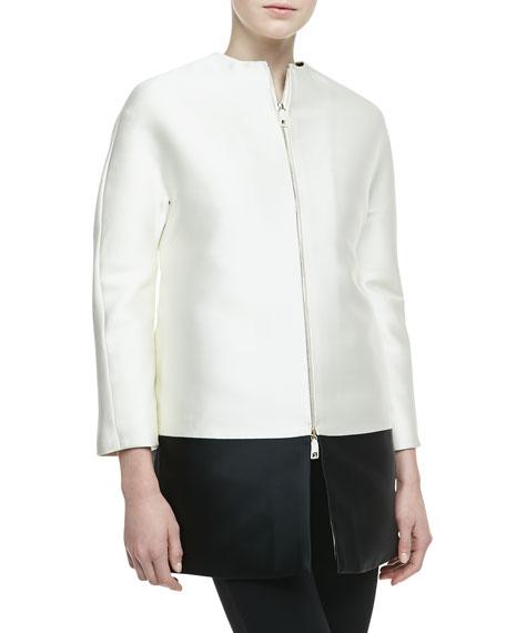 Bicolor Scuba Zip Coat
