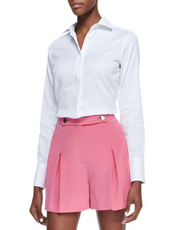 Valentino Poplin Hidden-Placket Blouse