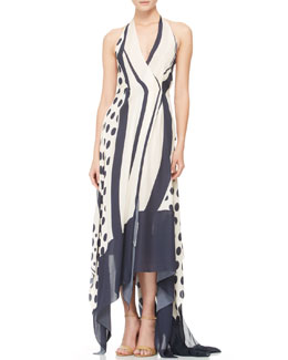 Donna Karan Mixed-Print Handkerchief Dress