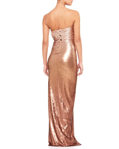Strapless Lamé Twist Gown
